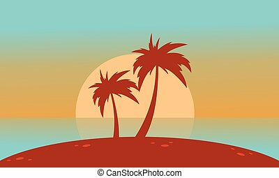Silhouette of beach with big sun landscape vector...