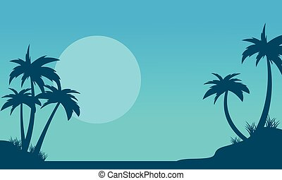 Silhouette of palm with big moon scenery vector