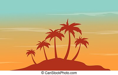 At afternoon seaside palm scenery silhouettes vector...