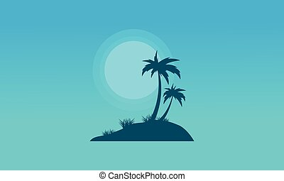 At night island of silhouettes landscape vector flat