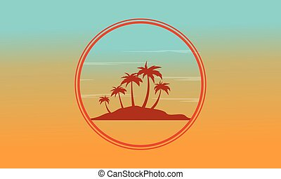 Silhouette of island at sunset scenery vector illustration