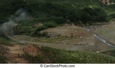Valley of Geysers in Kamchatka Peninsula stock footage video...