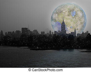 Moonrise - Abstract painting. Terraformed moon over...