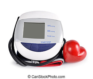 Digital blood pressure monitor with heart isolated on white...