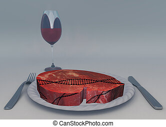 Temptation - Raw meat and glass of wine. DNA chain.