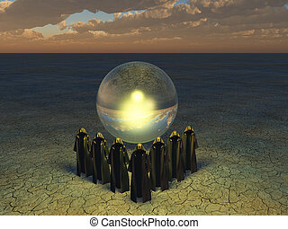The divining sphere - Large crystyal sphere and cloaked...