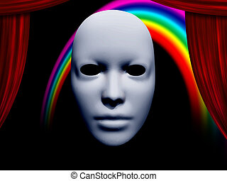 white mask and curtains with rainbow