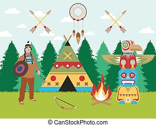 American indian landscape warrior, wigwam and totem vector...