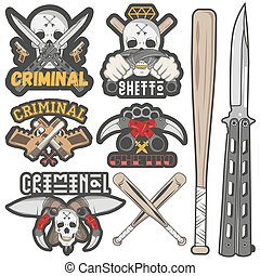 Collection of vector gang and criminal badges - Set of...