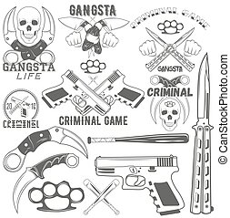 Collection of vector gang and criminal logotypes - Set of...