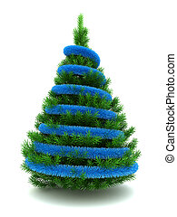 Christmas tree - 3d illustration of Christmas tree with blue...