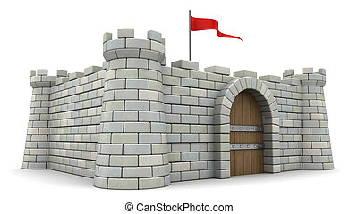 3d fortress - 3d illustration of stone fortress with red...