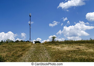 Telecommunication tower with antenna