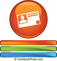 Identification Card web button isolated on a background