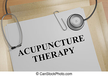 Acupuncture Therapy - medical concept - 3D illustration of...