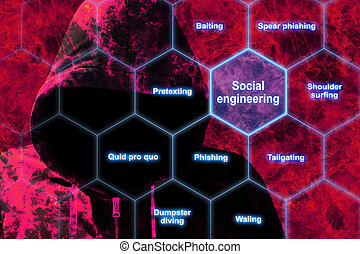 Red hacker in flames social engineering concept