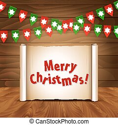 Christmas wooden background with bunting postcard