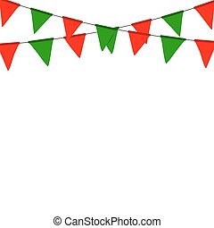 Christmas bunting flag isolated on white background.