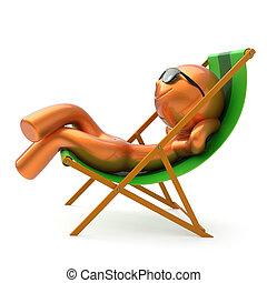 Man smiley resting beach deck chair sunglass summer vacation...