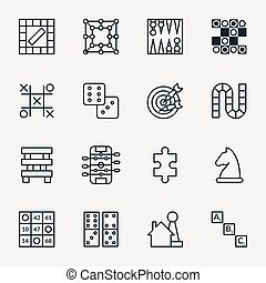Board and party games outline icons vector. Set of board for...
