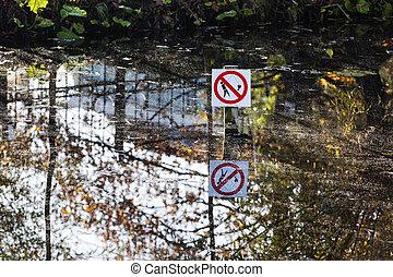 池塘, 不, 釣魚, 簽署