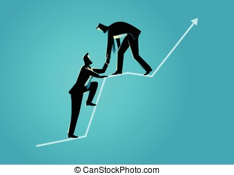 Businessmen helping each other on top of graphic chart -...