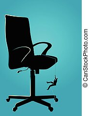 Businessman climbing on chair using rope
