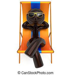 Smiling man resting beach deck chair sunglass summer tourist