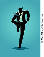 Silhouette illustration of a businessman running, business,...