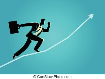 Business concept illustration of a businessman running on...