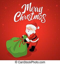 Santa Claus dragging his gift sack