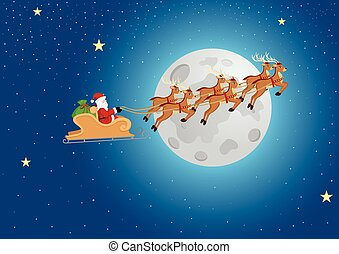 Santa Claus Riding His Sleigh
