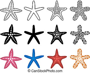 Starfish icon set on white background. Sea life vector...