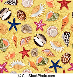 Beach sand background with sea shells - Marine beach sand...