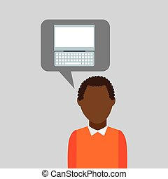 computer cartoon icon with character man