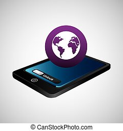 smartphone blue screen unlock globe global