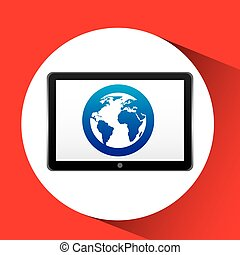 tablet technology icon globe communication
