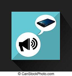 smartphone blue screen unlock megaphone speaker vector...