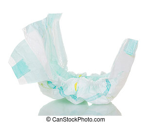 Disposable diaper closeup isolated on white. - Disposable...