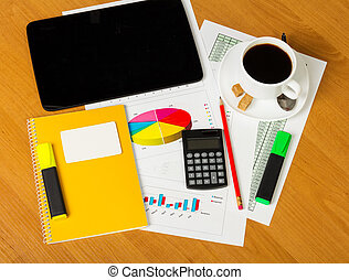 Calculator, notepad, business card, markers and cup coffee...
