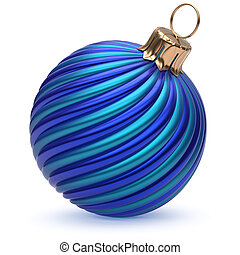 Christmas ball New Year's Eve decoration blue twisted stripes