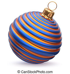 Christmas ball New Year's Eve decoration blue orange striped