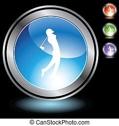 Golfer web button isolated on a background