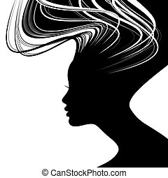 Woman Hair style silhouette made with brush strokes