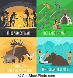 Ancient prehistoric stone age concepts. Primitive tools and...