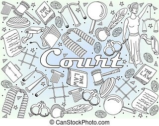 Set law and justice vector coloring book - Vector collection...
