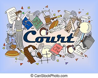 Set law and justice vector - Vector collection or set of law...