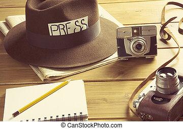 vintage reporter hat fedora camera - vintage vision of the...