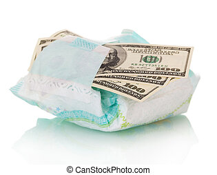 Disposable diaper and money close up isolated on white. -...