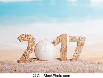 Ball instead number 0 in 2017 on sea background. - Ball...